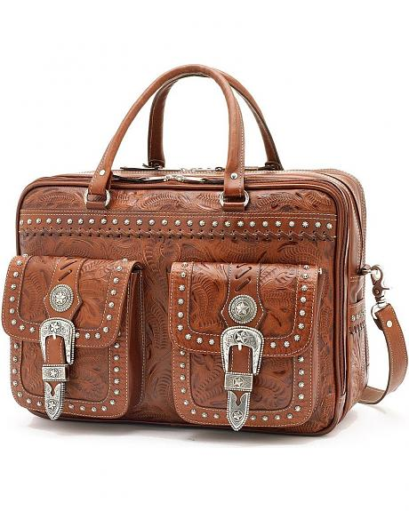 American West 3 Compartment AntiqueTan Leather Briefcase