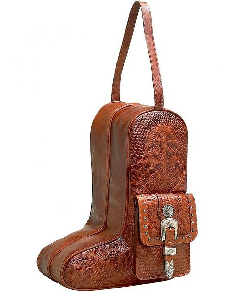 American West Zip-Around Antique Tan Leather Boot Bag
