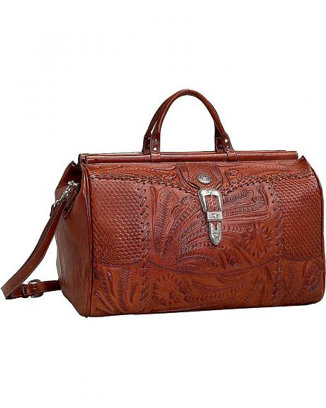 American West Antique Tan Leather Duffel Bag