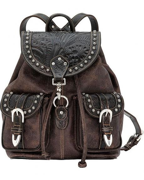 American West Black Tooled & Brown Distressed Leather Drawstring Backpack