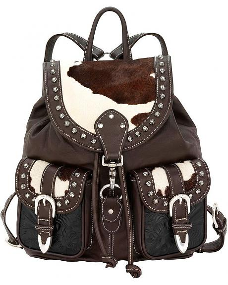 American West Leather & Hair-On Hide Drawstring Backpack