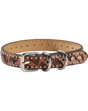 Studded Leopard Print Dog Collar - S-XL