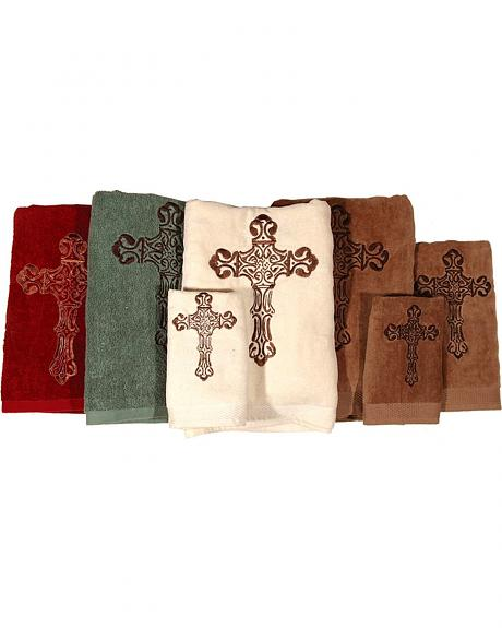 Three-Piece Embroidered Cross Bath Towel Set - Cream