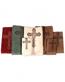 HiEnd Accents Three-Piece Embroidered Cross Bath Towel Set - Brown