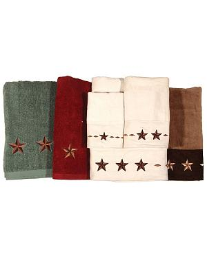 Three-Piece Embroidered Star Bath Towel Set - Cream