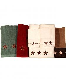 Three-Piece Embroidered Star Bath Towel Set - Brown