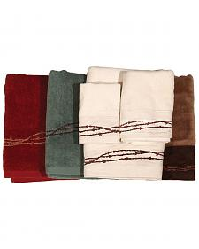 HiEnd Accents Three-Piece Embroidered Barbed Wire Bath Towel Set - Turquoise