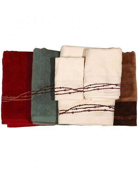 HiEnd Accents Three-Piece Embroidered Barbed Wire Bath Towel Set - Red
