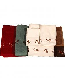 Three-Piece Embroidered Branding Symbols Bath Towel Set - Turquoise