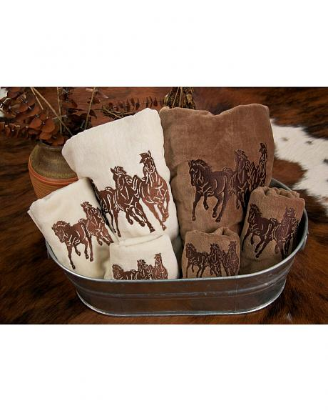 HiEnd Accents Three-Piece Embroidered Horses Bath Towel Set - Cream