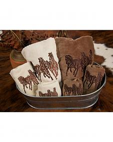 HiEnd Accents Three-Piece Embroidered Longhorn Bath Towel Set - Brown