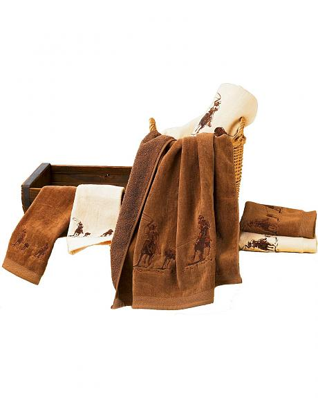 HiEnd Accents Three-Piece Embroidered Roping Design Bath Towel Set - Brown
