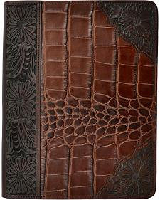 3D Leather Gator Print with Floral Tooling iPad Case