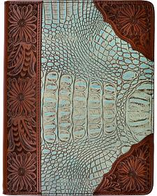 3D Turquoise & Brown Leather Gator Print with Floral Tooling iPad Case