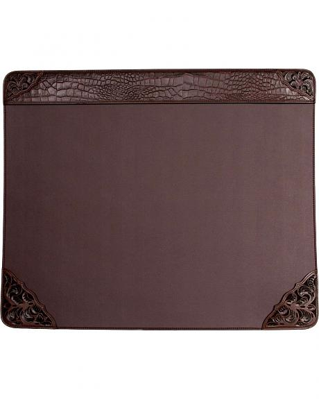Smooth Leather with Gator Print & Floral Tooling Desk Top Pad