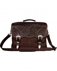 Smooth Leather with Floral Tooling Briefcase