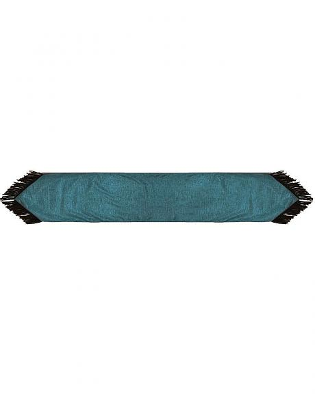 HiEnd Accents Turquoise Tooled Faux Leather Table Runner