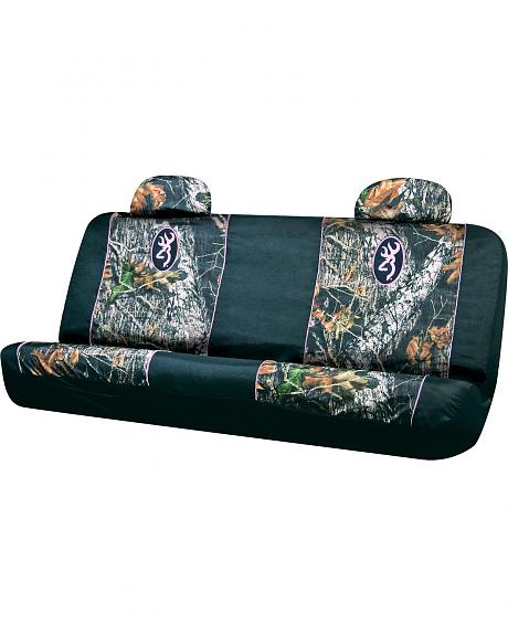 Browning Buckmark Pink Trimmed Camo Bench Seat Cover