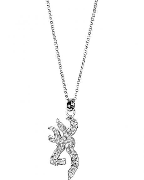 Browning Rhinestone Embellished Buckmark Logo Necklace