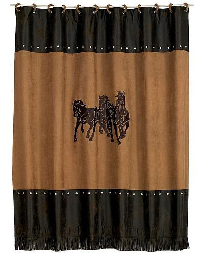 This Luxurious Shower Curtain Will Add A Touch Of Class To Your Bathroom!Deep  Brown U0026 Tan Hues Image Of Three Horses At Center. Your Bathroom Will Look  Cool ...