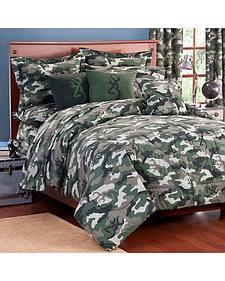 Browning Green Buckcamo Queen Comforter Set