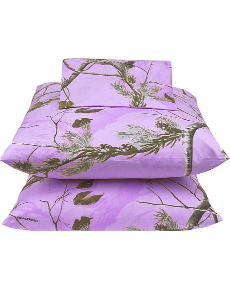 Realtree Lavender Camo Twin Sheet Set
