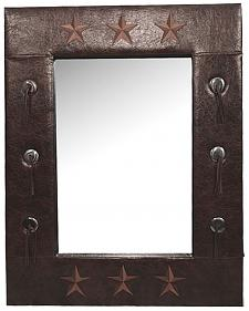 HiEnd Accents Faux Leather Star Mirror