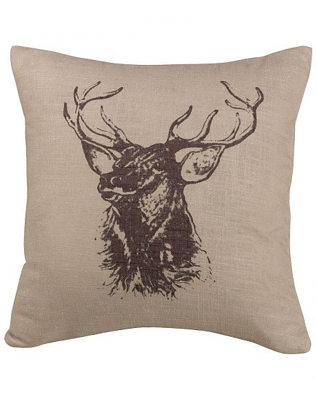 HiEnd Accents Elk Bust Accent Pillow