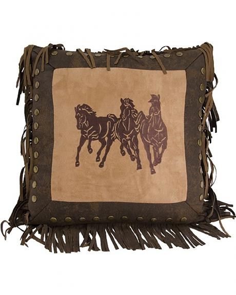 HiEnd Accents Three Horses Fringe Pillow