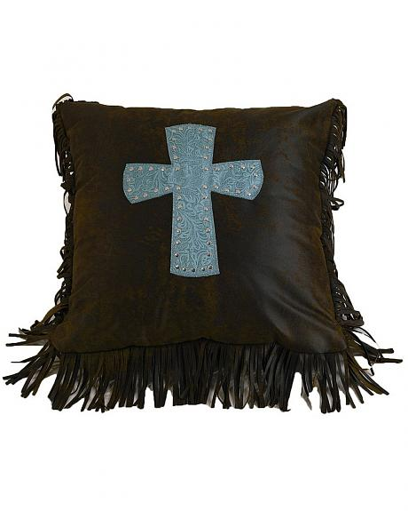 HiEnd Accents Cheyenne Turquoise  Cross Pillow