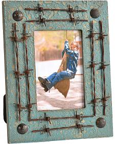 """HiEnd Accents Double Barbed Wire Painted Wooden Picture Frame - 4"""" x 6"""""""