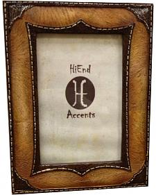 """HiEnd Accents Leather Overlay Look Photo Frame - 4"""" x 6"""""""