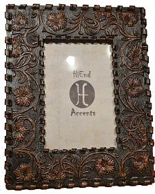 "HiEnd Accents Floral Tooled Faux Laced Photo Frame - 4"" x 6"""