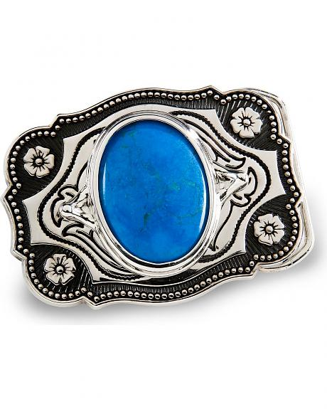 Turquoise-Dyed Howlite Belt Buckle