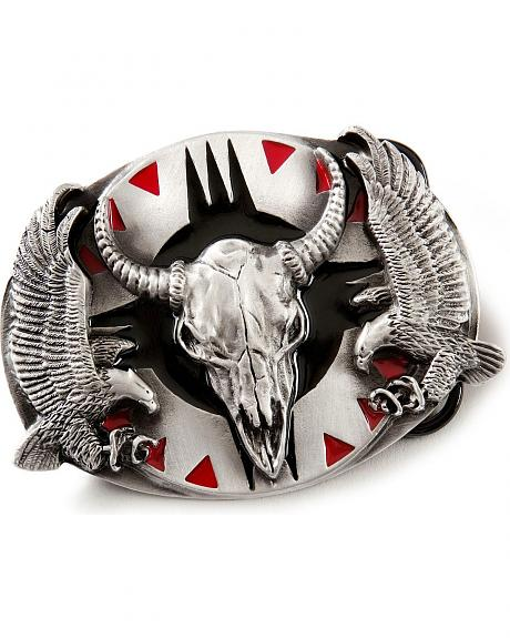 Buffalo Skull & Eagle Belt Buckle