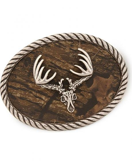 Nocona Mossy Oak Camo Deer Skull Belt Buckle