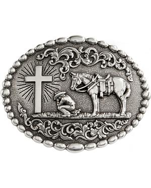 Nocona Cowboy Prayer Belt Buckle