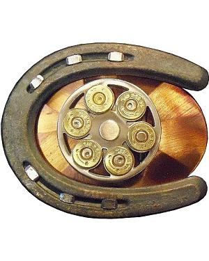 Exotic Gun Cylinder & Horseshoe Belt Buckle