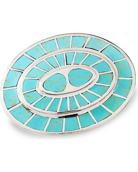 Oval Turquoise Stone Belt Buckle