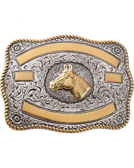 Two-tone Horse Belt Buckle