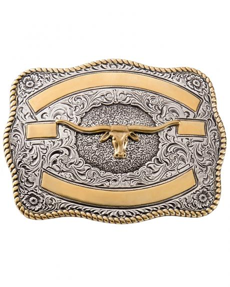Two-tone Longhorn Belt Buckle
