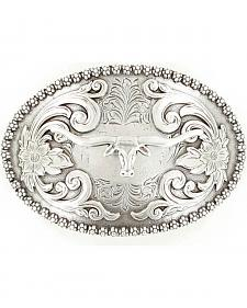 Floral Etched Longhorn Belt Buckle