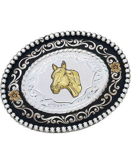Montana Silversmiths Oval Horse & Flowers Buckle