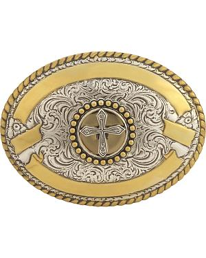 Oval Ribbon & Cross Buckle