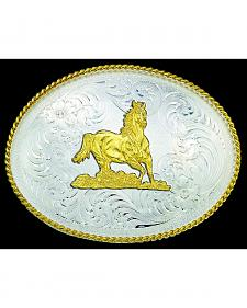Montana Silversmiths Engraved Gold-Tone Horse & Border Buckle