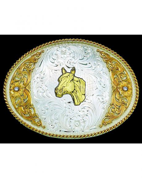 Montana Silversmiths Large Overlay Horsehead Design Buckle