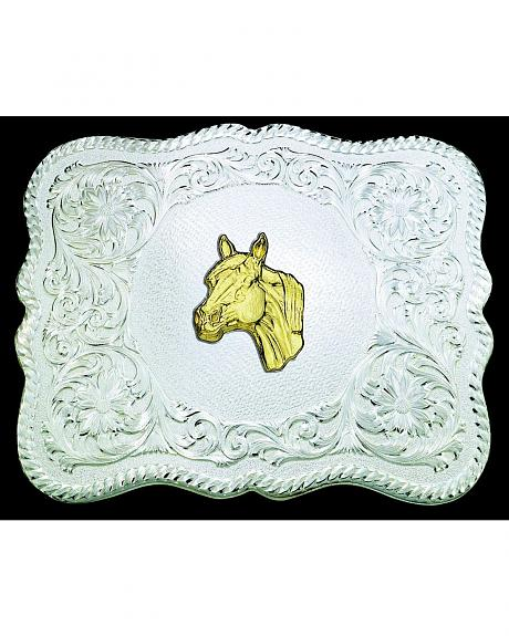 Montana Silversmiths Scalloped Fancy Scroll Buckle with Gold-Tone Horsehead