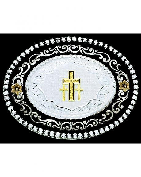 Montana Silversmiths 3 Cross Engraved Oval Buckle