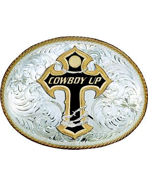 "Montana Silversmiths ""Cowboy Up"" Cross Engraved Oval Buckle"