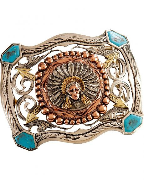 Stetson Native American Turquoise Trim Buckle